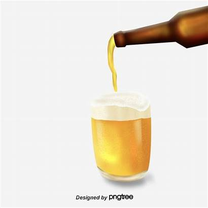 Beer Pouring Bottle Bottles Painted Cups Psd