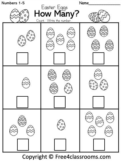 easter math number counting worksheet