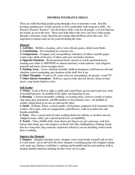 19 Best Images Of Distress Tolerance Worksheets  Dbt Distress Tolerance Worksheets, Dbt