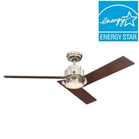 ge daelyn 54 in led indoor brushed nickel ceiling fan