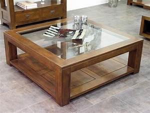 Table Salon Carrée : table de salon holly double plateau avec 1 panneau en verre meubles bois massif ~ Teatrodelosmanantiales.com Idées de Décoration
