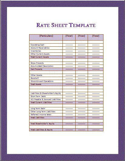 rate sheets templates attendance sheet template