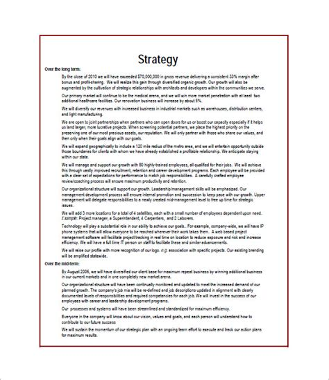How To Create A Strategic Plan Template by Construction Business Plan