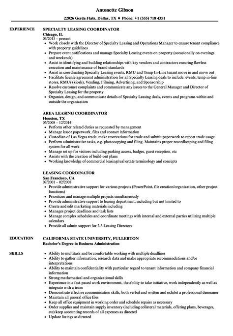 Sle Leasing Resume by Leasing Coordinator Resume Sles Velvet