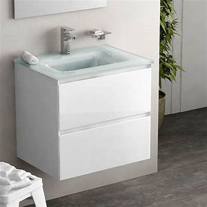 meuble 61 cm blanc brillant vasque verre 3 finitions cordoue With meuble vasque salle de bain 50 cm