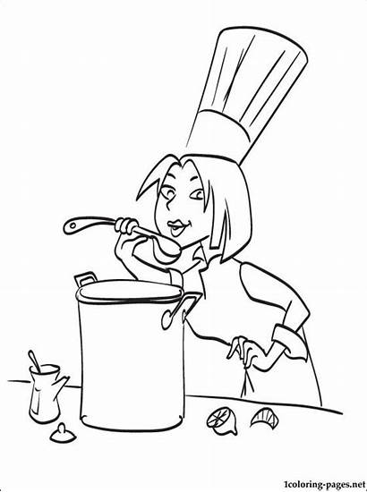 Chef Coloring Ratatouille Woman Printable Pages Cooking