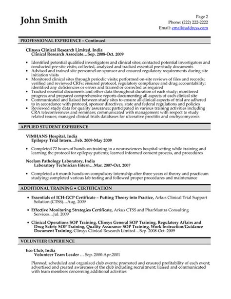 clinical research associate resume objective images