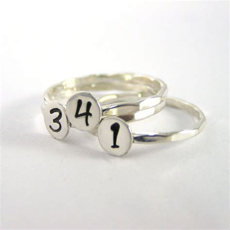 number ring stack ring personalized number ring sterling
