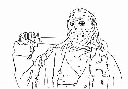 Jason Coloring Pages Horror Friday 13th Myers