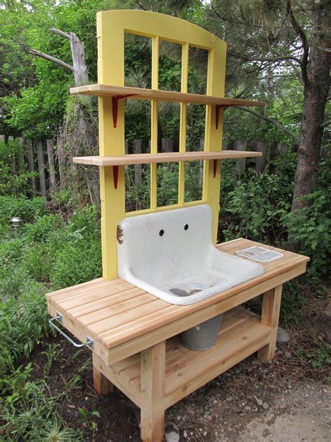 arbor kitchen faucet montana wildlife gardener repurposed potting bench