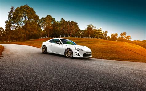 Car Sunset Wallpaper by Hd Background Toyota Gt 86 White Color Grass Sunset Car