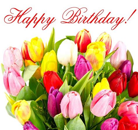 happy birthday stickers shape tulip bouquet of colorful tulips flowers stock image colourbox