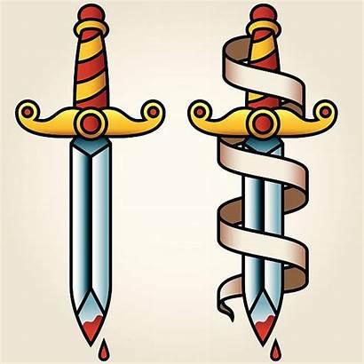 Dagger Tattoo Banner Sailor Knife Classic Jerry