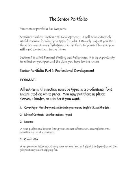 cover letter example for portfolio best photos of high school senior portfolio sample high