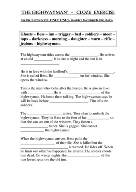 the highwayman cloze exercise by teach first teaching