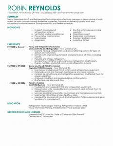 Hvac and refrigeration resume example maintenance for Hvac resume builder