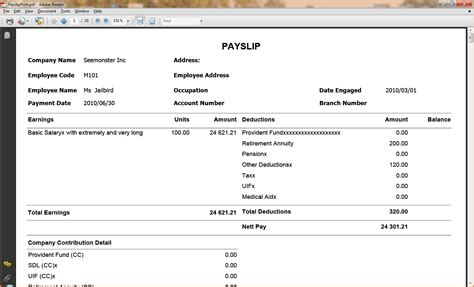 australian payslip template simple salary slip