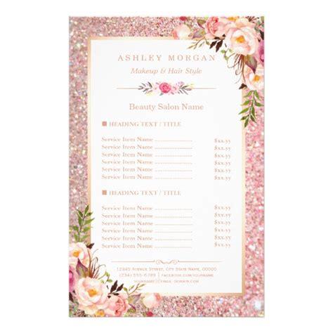 trendy rose gold glitter floral beauty salon menu zazzleca