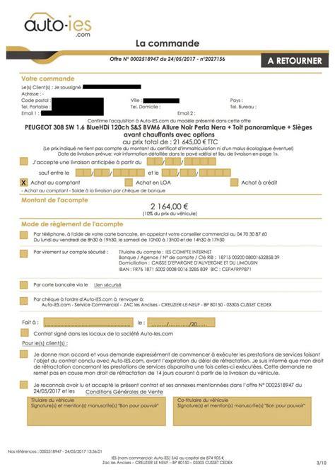 modele lettre acompte achat voiture comment v 233 rifier le bon de commande d une voiture