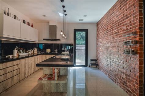 2 wall kitchen designs rustic look brick wall the highlight of the kitchen 3823
