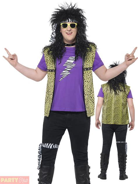 Adults 80s Rock Star Costume Mens Ladies Plus Size Fancy Dress Celebrity Outfit | eBay