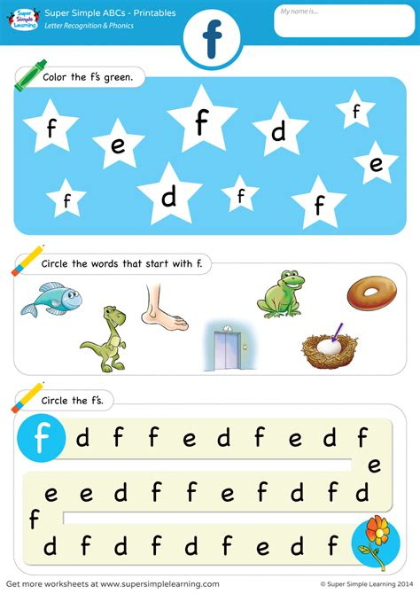 letter recognition phonics worksheet f lowercase