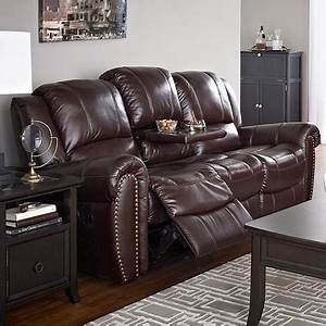 Charlotte39 reclining sofa with drop down table sears for Sectional sofa with drop down table