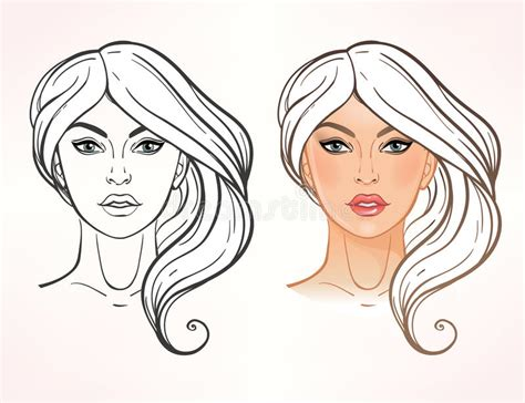Female Face Chart Makeup Artist Blank. Stock Vector