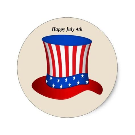 happy july  american flag hat classic  sticker
