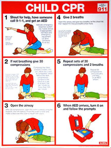 child cpr  aid instructional wall chart poster arc