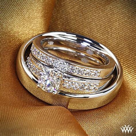 white gold flush fit diamond wedding set diamond
