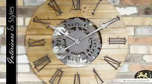 Grande Horloge Industrielle : tr s grande horloge de style industriel engrenages 80 cm int rieurs styles ~ Teatrodelosmanantiales.com Idées de Décoration