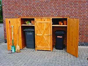 Gartenschrank Holz Weiß : holz m lltonnenschrank 3t rig ger teschrank gartenschrank m lltonnenaufbewahrung haus garten ~ Michelbontemps.com Haus und Dekorationen