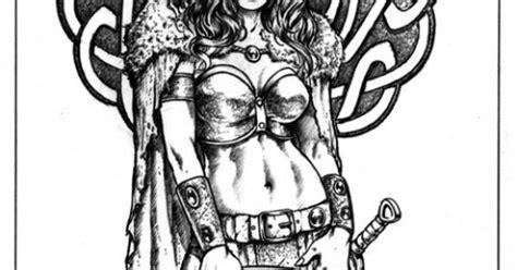 viking celtic shield maiden  mitch foust tattoo flash