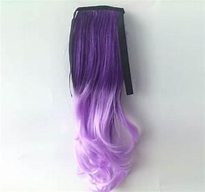 Ombre Colorful Ponytail Wavy 06# Deep purple/Light Purple ...