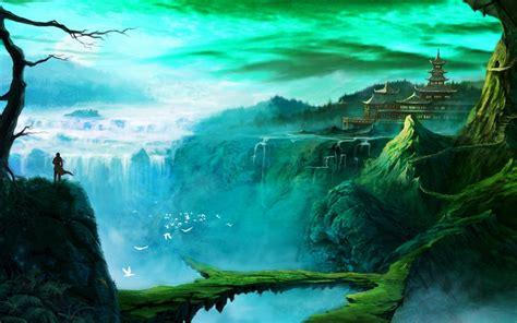 fantasy art temple waterfall wallpapers hd desktop