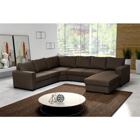 canapé d 39 angle 6 places marron pas cher achat vente