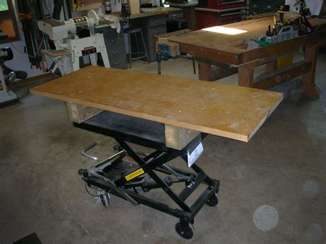 diy work table scissor jack adjustable height