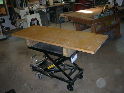 diy work table scissor jack adjustable height