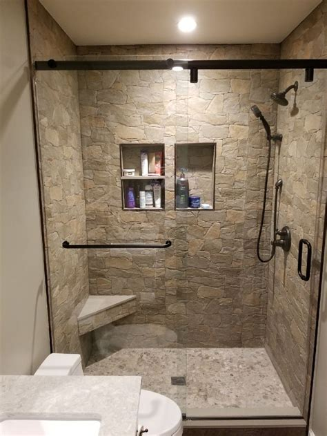shower  rock ceramic tile river rock floor quartz