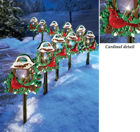 holiday outdoor l post christmas red birds outdoor pathway light set holiday yard