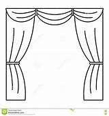 Curtain Stage Outline Coloring Pages Icon Vector Illustration Web sketch template