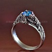 CRATER LAKE Blue Diamond Engagement Ring and Wedding Band ...