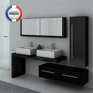Meuble De Salle De Bain Double Vasque : meuble double vasque noir dis9350n meuble double vasque de salle de bain design ~ Teatrodelosmanantiales.com Idées de Décoration