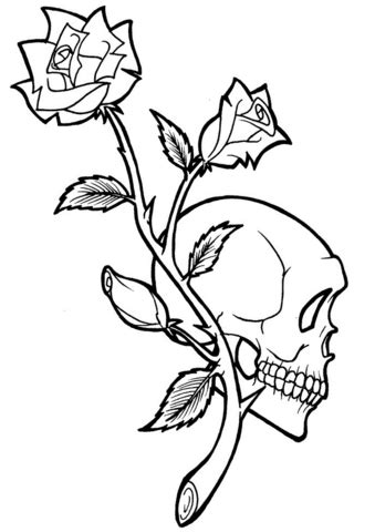 Rose and Skull Tattoo coloring page | Free Printable
