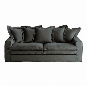 canape 3 4 places en lin anthracite lisbonne maisons du With tapis de course avec canapé en lin lavé