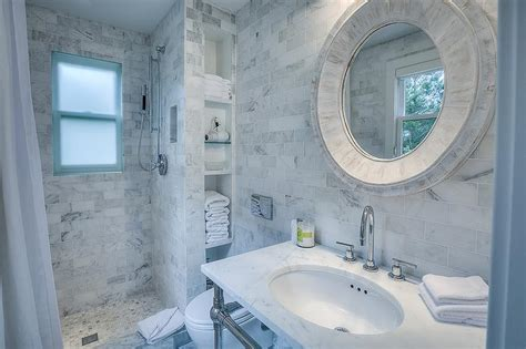 beach cottage bathroom  marble tile shower  niche