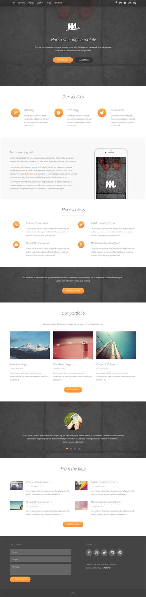 bootstrap single page template one pager template onegenius one page flat portfolio psd template one page start