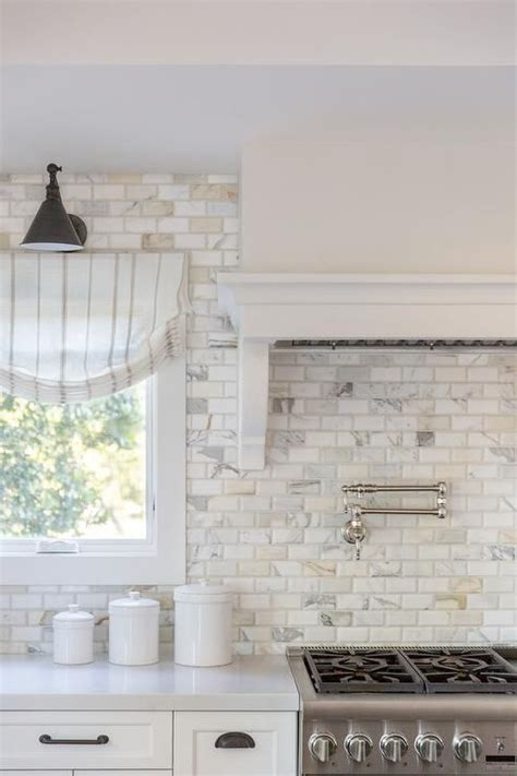 calcutta gold marble beveled brick backsplash tiles