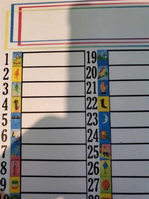loteria raffle note sheet paper bingo chalupa numbers